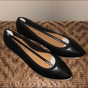 Report Signature Black Flats With Gold Detail
